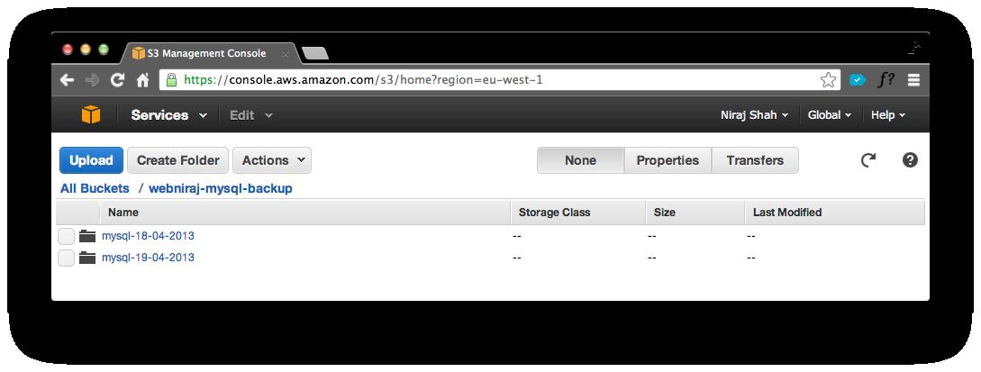 Amazon S3 Database Backup