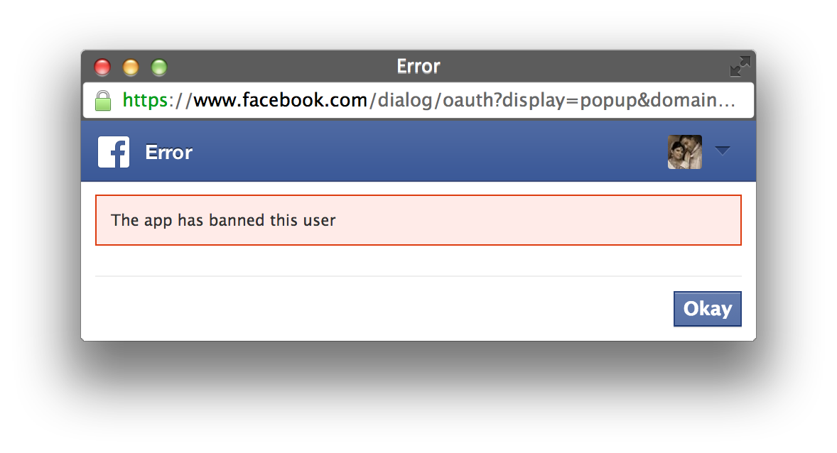 Facebook - User Banned Message