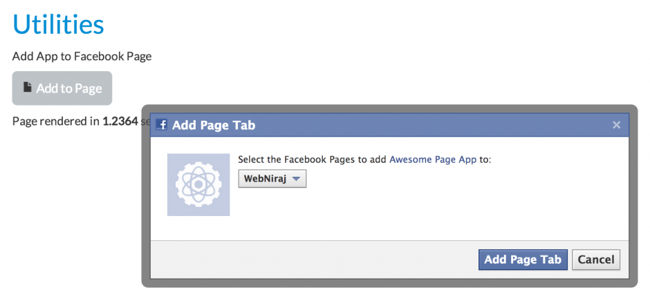 FB Add to Page Dialog