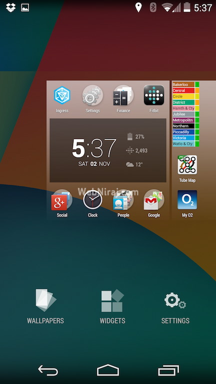 Android 4.4 KitKat New Widgets Menu