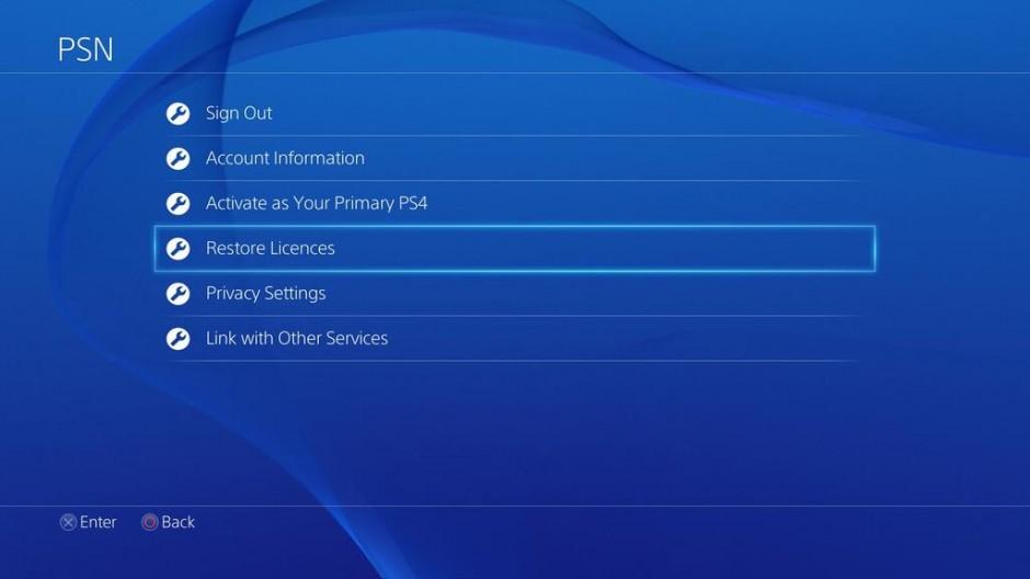 PS4 Restore Licences