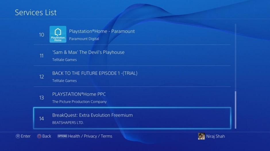 PS4 Service List