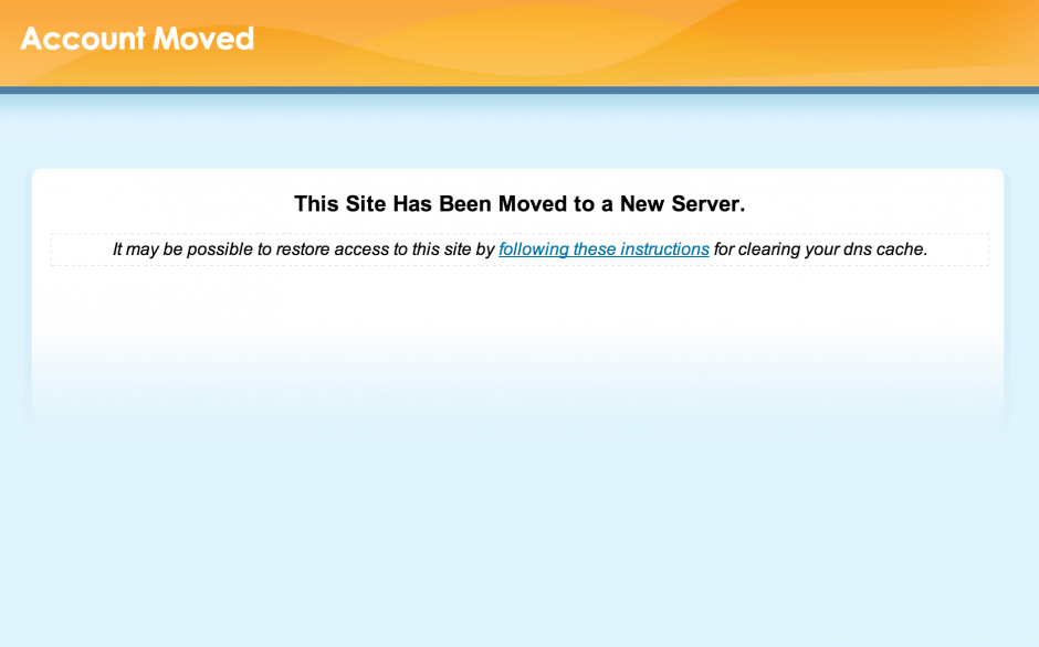 cPanel Website Moved Message