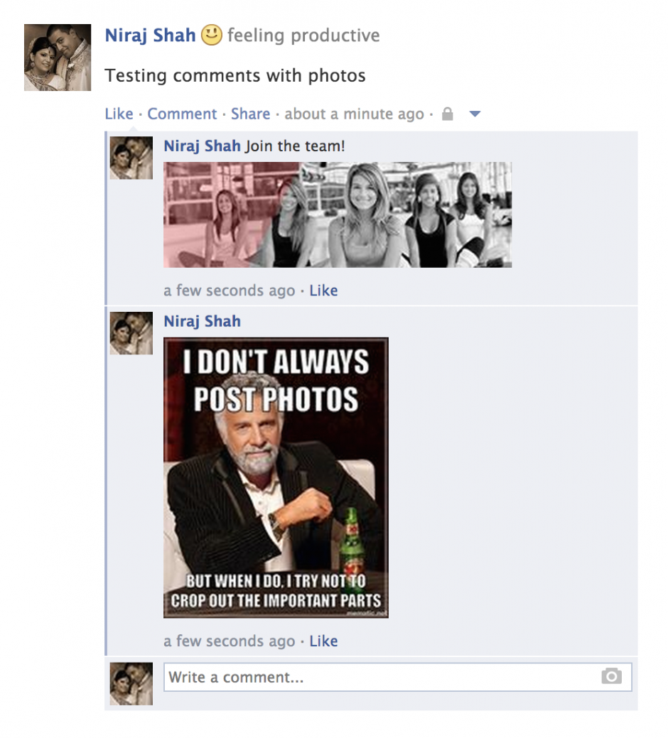 Facebook Comment with Photos