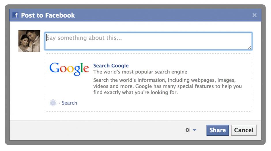 Facebook JS Action Links Share Dialog