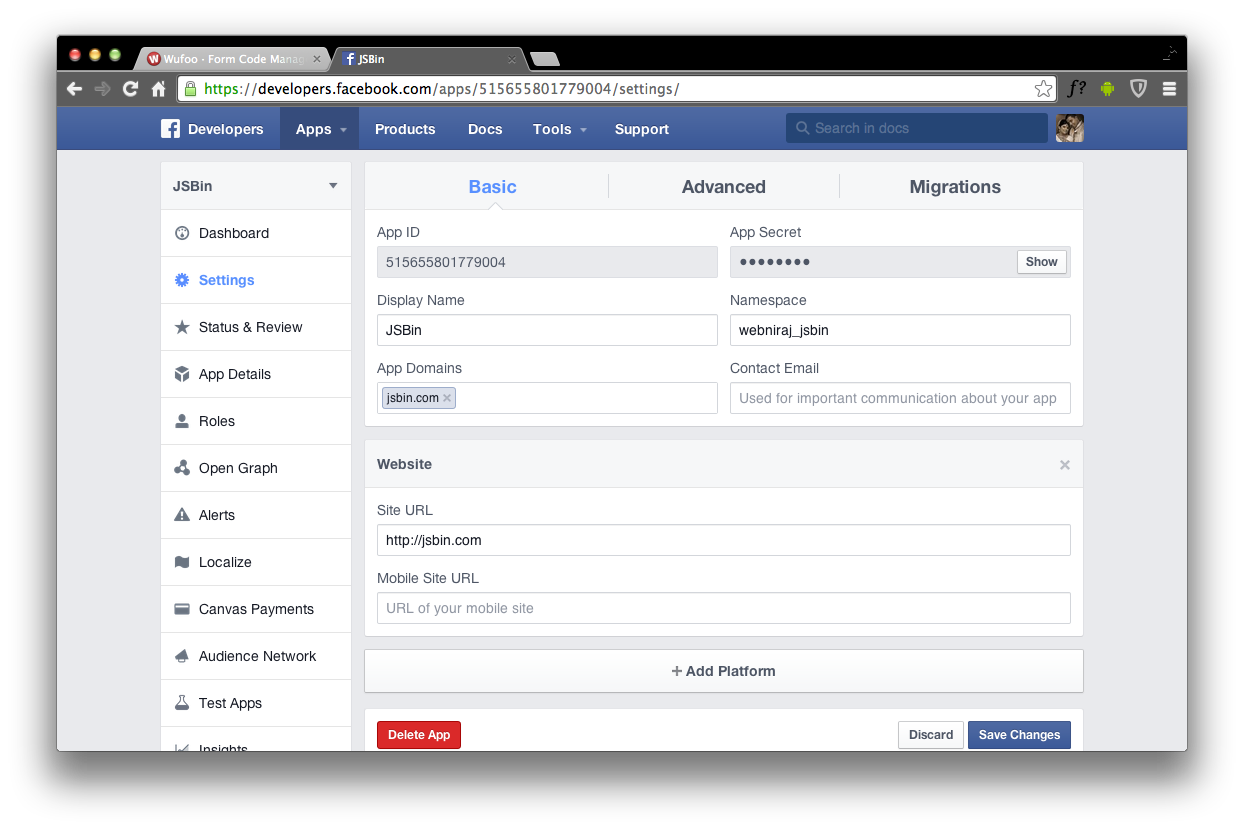 wufoo javascript forms with facebook login
