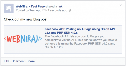Post to Page using Facebook PHP SDK v4.0.x