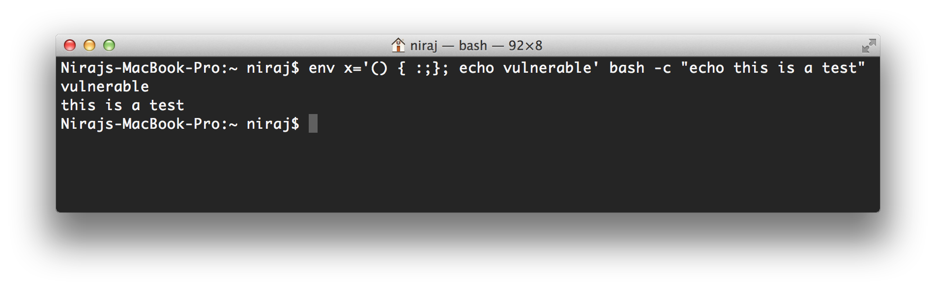 Bash Mac OS X Version Vulnerable