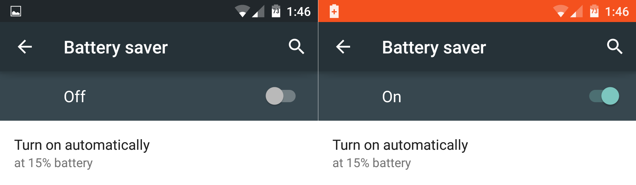 Android 5.0 - Automatic Battery Saver