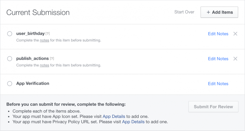 FB Permissions Submission